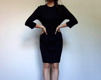 Black Wiggle Dress 60s Bow Waist Three Quarter Sleeve 1960s Simple Jonathan Logan Dress - Small S