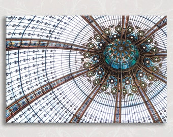 Paris Photo on Canvas, Galeries Lafayette Ceiling, Teal Blue, French Home Decor, Gallery Wrapped Canvas, Large Wall Art