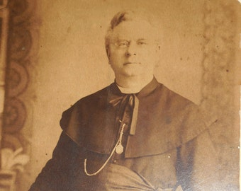 Reverend Pere Cure 1889 Putnam Connecticut  Vintage Priest  Sepia Photo  In Black Cassock With Eyeglasses He Holds Bible.FREE SHIPPING