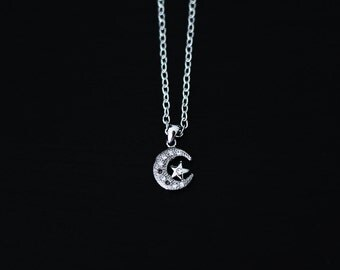 Moon and stars necklace - crescent moon necklace - charm necklace - silver plated - 42 cm
