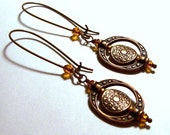 Antique Copper Bead Frame Earrings