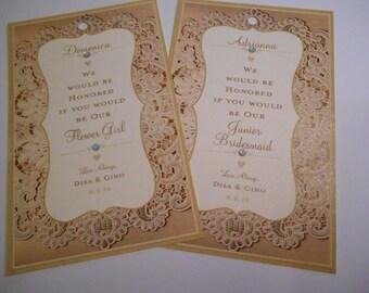 Bridesmaid Wine Bottle Tags - Custom Wedding Tags - Wine Tags - Bottle Gift Tags - Liquor Bottle Tie on Tags