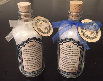 Greek Wedding Tags - Olive Oil - Salt Jar Tags - Hotel Gift Tags - 1.5 inch tags -  Destination Weddings -  Customizable - 25 Tags