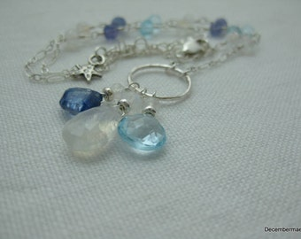 Rainbow Moonstone,Kyanite and Blue Topaz Briolette Necklace in Sterling Silver