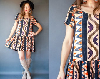 1980's Vintage Aztec TRIBAL Print Rayon Dropwaist Batik Tent Dress / Scoop Neck / India Hippie Tunic / Stripe Zig Zag
