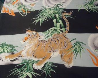 Retro Japanese Hawaiian print fabric Rayon Dragons and Tigers