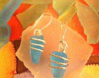 Turquoise Sea Glass Wire Wrap Dangle Earrings on Silver French Wires by LauriJon™ Studio City