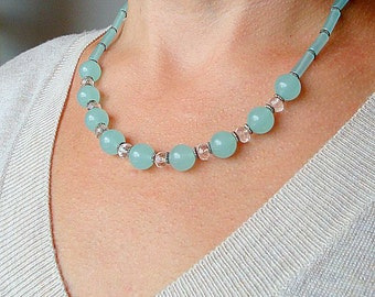 Aqua Chalcedony Necklace. Aqua Blue Necklace.