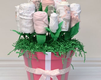 Custom Baby Gift, Baby Gift for Infant Girl, Baby Shower Clothing Bouquet, New Baby Gift Basket, Made from Layette Clothing