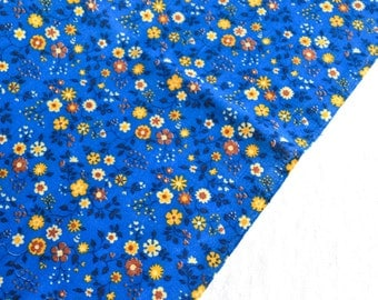 Vintage Fabric - Petite Yellow Flowers on Blue Broadcloth - 44 x 46