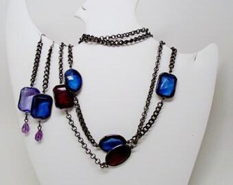 "Vintage Lucite Big Oblong Faceted Dangle Earrings & Necklace Choker 34"" Double or Triple Stranded Blues Purple Reds Gunmetal  Art Deco Mod"