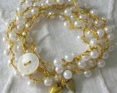 Beaded wrap bracelet Wedding bracelet Brides pearl wrist wrap Crocheted stacking bracelet