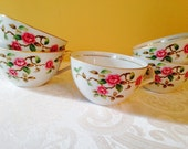 Vintage rose cups, shabby chic coffee or tea cups, kent china made in japan, maytime pattern