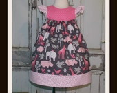 Day at the Zoo Flutter Dress Sz 2T 3T 4T 5 6 7 8 Custom Boutique Birthday Animals Elephant Giraffe Hippo Handmade in USA That's So Addie