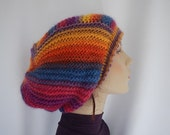 Hand knit slouchy hat with chunky colorful yarn - hand knit beanie - hand knit tam - happy hat