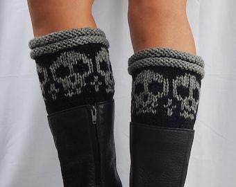 Boot cuffs with skulls/ knit boot cuffs / black boot cuffs/ handknitted boot cuffs
