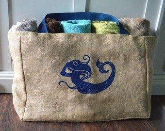 Extra Large Nautical Mermaid Burlap Beach Bag - Handmade