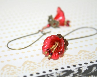 Red Lucite Lily Earrings with Wire Wrapped Stamen. Made to order.