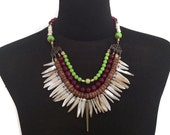 ON SALE Cactus Juice Modern Tribal Necklace with Mother of Pearl Shell, Agate, Lime Beads and Gold Spike