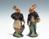 Chalkware Rabbits Cast Using Antique Aton Reiche Chocolate Molds Chalkware Easter Rabbits