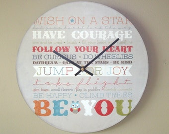 Be You Wall Clock - Inspirational Wall Clock - Typographical Clock - Quote Clock - Clock for Nursery - Unique Wall Decor - 1774