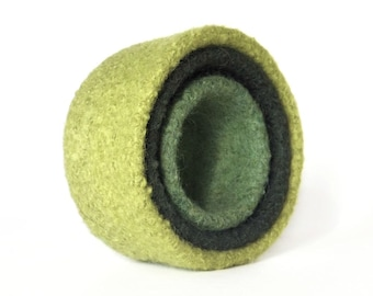 Felt Nesting Bowls Home Décor Felted Set Of Three Green Knitted Felted Wool Back to School Desk Organizer Container Storage Hostess Gift