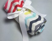 Crayon Roll- Rainbow Chevron fabric - includes 24 Crayola crayons