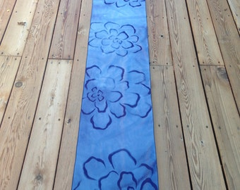 Beautiful Hannah Shades of Blue Discharge Dyed Floral Cotton Table Runner