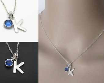 Initial Necklace, Birthstone Necklace, Sterling Silver, Pendant Necklace, Charm Necklace, Jewelry, Gift