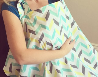 Large Broken Chevron Nursing Cover - FREE SHIPPING in USA