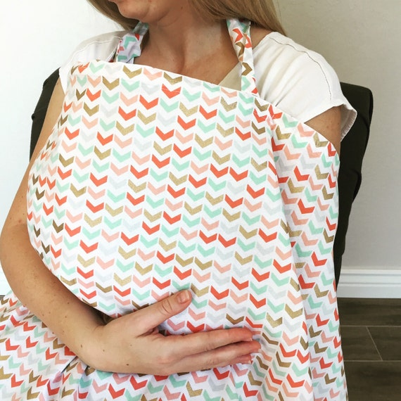 Coral, mint, & gold nursing cover
