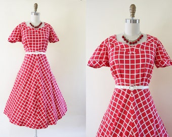 40s Dress - Vintage 1940s Dress - Red White Windowpane Plaid Cotton Full Skirt Sundress L - Leap of Faith