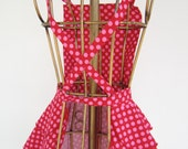 Diva Apron -  Sweet N Sexy -  Super cute in hot pink polka-dots with criss cross back.