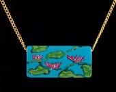 Waterlilies Necklace, Hand Painted, Water Garden Beauty