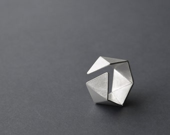 Geometric Silver Ring, Sterling Silver Ring, Hexagon Ring, Faceted Silver Ring, Statement Silver Ring, Mens Silver Ring Minimalist Ring