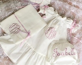 Going Home Baby Girl Shower Gift Set White or Ivory Dress Bonnet, Diaper Cover and Diaper Pad Size Newborn to 2