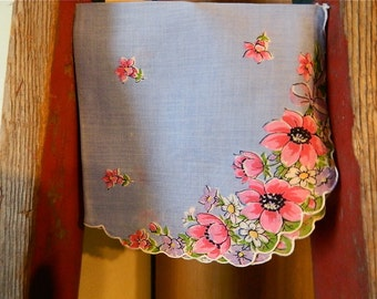 """Vintage Hankie/Hanky """"Pink Anenomes on a Sea of Blue"""" Printed Hankie, Scalloped Edges"""
