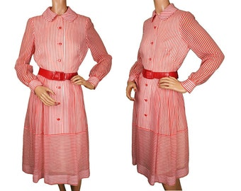 1960s Red & White Striped Cotton Voile Dress