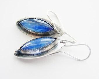 Blue kyanite silver earrings  - artisan crafted dangling earrings - ice blue
