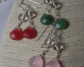 chalcedony briolette & quartz crystal dangle sterling silver earrings. handmade, wire wrapped, long drop, simple, gemstone jewelry.