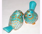 Bird Hand Painted Salt Pepper Shakers, Porcelain Cake Toppers, Easter Table Top Decor