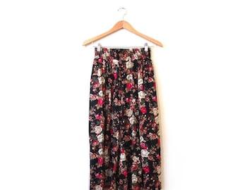 BTS SALE Vintage 80s High Waist Floral Grunge Culottes xs s