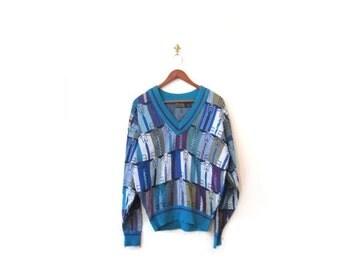 BTS SALE Vintage 80s Unisex Knit Teal NECKTIE Retro V Neck Sweater s m
