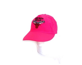 BTS SALE Vintage 90s Hot Pink Neon CHICAGO Bulls Nylon Throwback1991 Snapback Baseball Cap Hat retro indie hipster hip hop basketball nba wi
