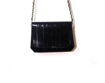 BTS SALE Vintage 80s Minimalist Black Eel Skin Leather Gold Chain Mini Shoulder Purse glam vanity mirror designer goth fashionista preppy