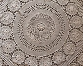 "Handmade Vintage Crocheted 60""  Round Lace Tablecloth  Free Shipping"