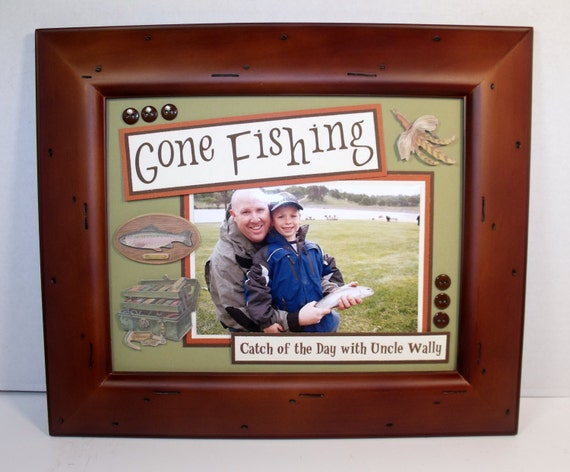Gone fishing picture frame personalized 8x10 deluxe frame for Fishing picture frame
