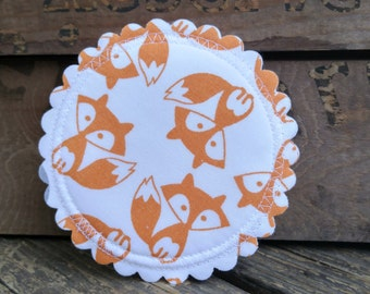 HIP HOOTERS...breast feeding pads...nursing pads with PUL...washable...organic cotton and bamboo...ecofriendly...in 'Foxy Mama'