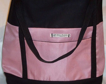 Allyn Tote with pink on pink check patterned center and black background