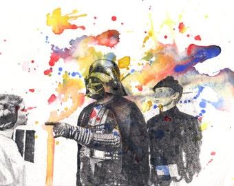 Star Wars Art Darth Vader Art Print From Original Watercolor Painting - Star Wars Art poster print 13 x 19 in.